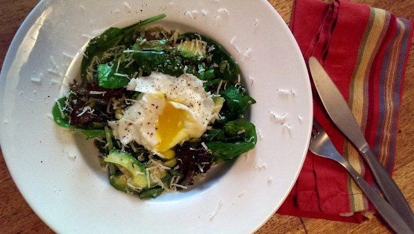 salad with egg & dukkah vinaigrette